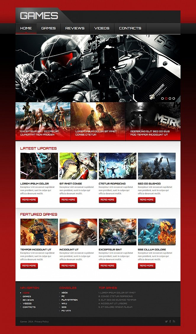 Video Games Web Template with Black-and-Red Background - image