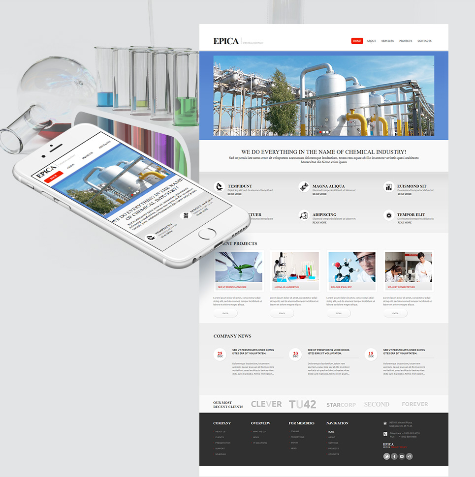 Chemical Company Website Template with CMS - image