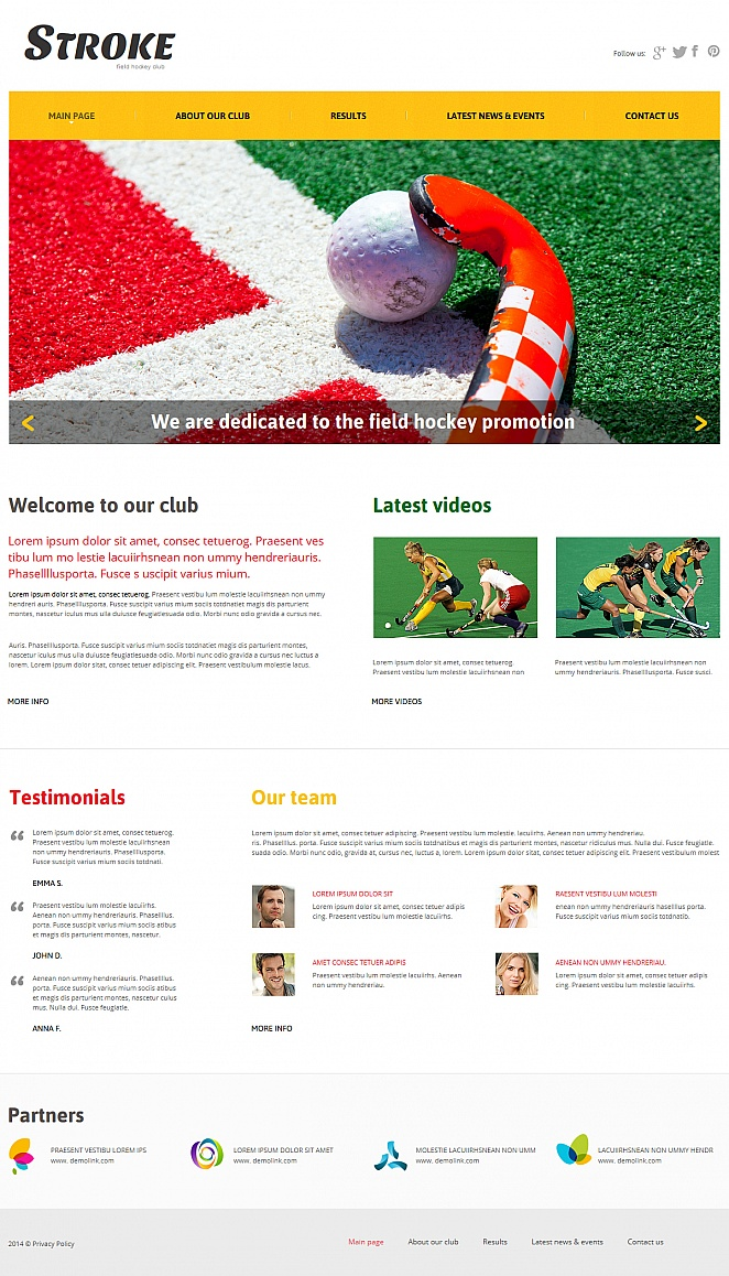 Sports Website Template for Field Hockey Clubs - image