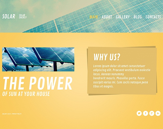 Solar Energy Website Template with Yellow Content Pages - image