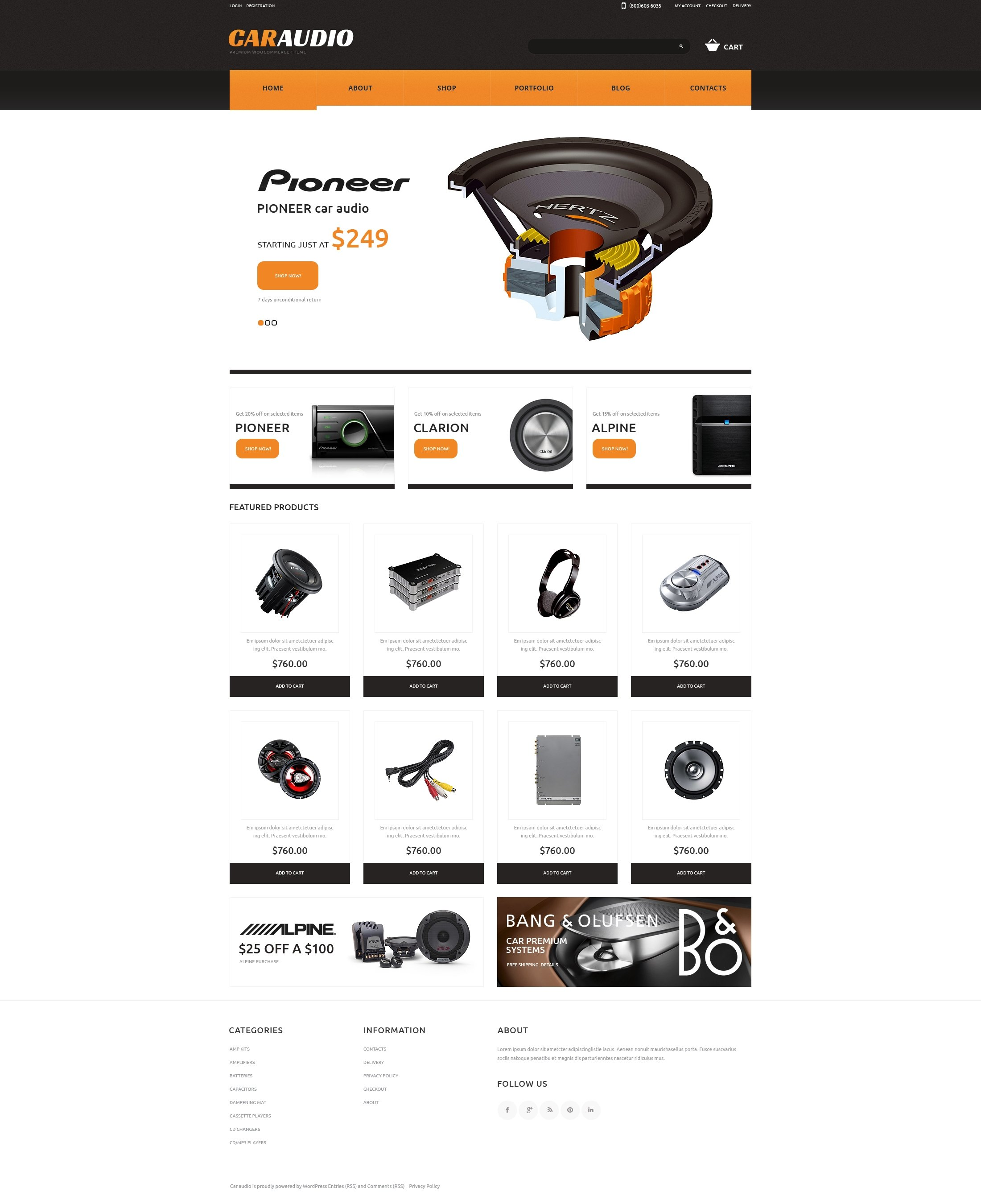 Car Audio Responsive WooCommerce Theme