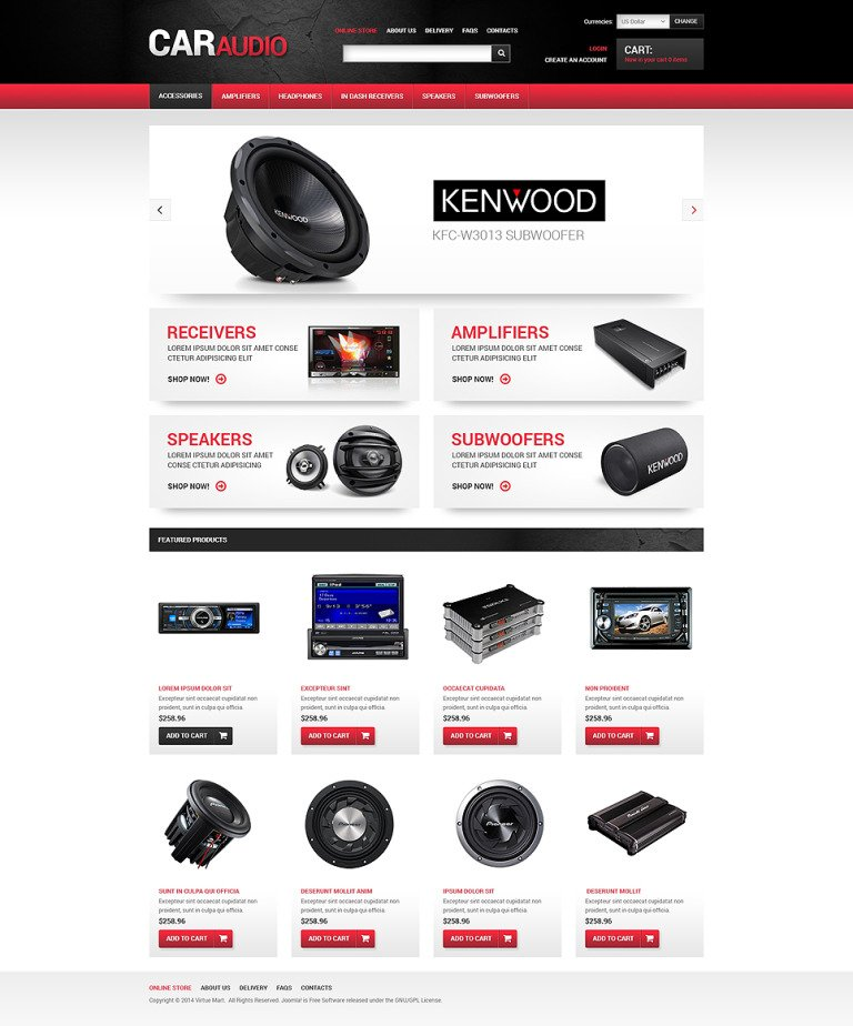 Car Audio VirtueMart Template New Screenshots BIG