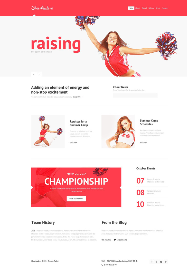 Cheerleaders Club Joomla Template New Screenshots BIG