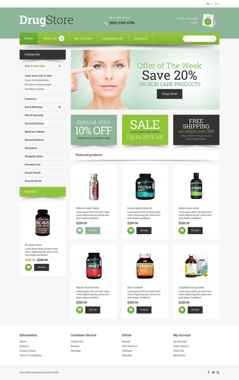 Drug Store Responsive OpenCart Template New Screenshots BIG