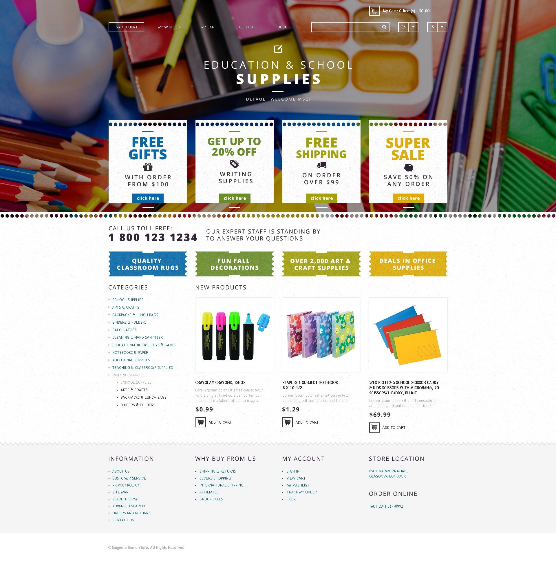 "Magento Theme namens ""School Supplies"" #48003"