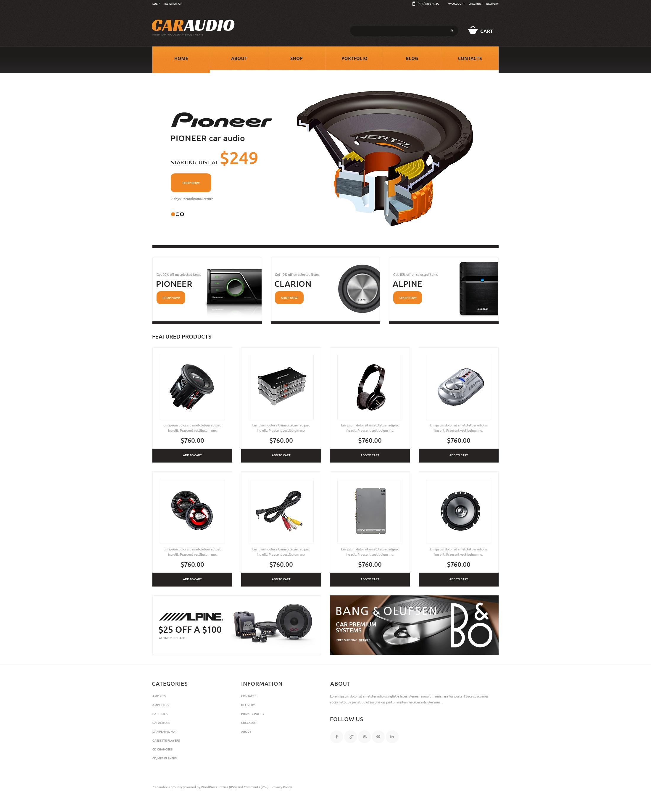 Tema woocommerce 48071 per un sito di impianti audio per auto - Impianti audio per casa ...