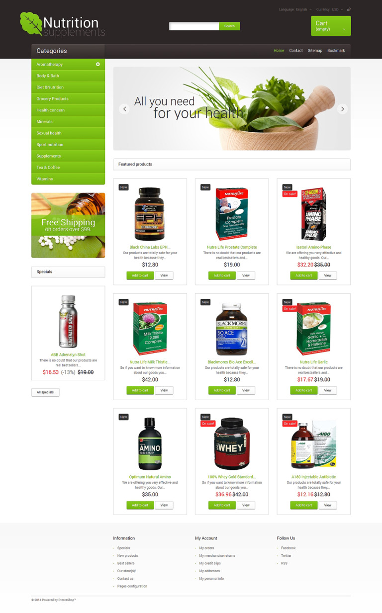Nutrition Supplements PrestaShop Theme New Screenshots BIG