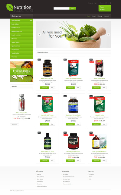 Nutrition Supplements PrestaShop Theme