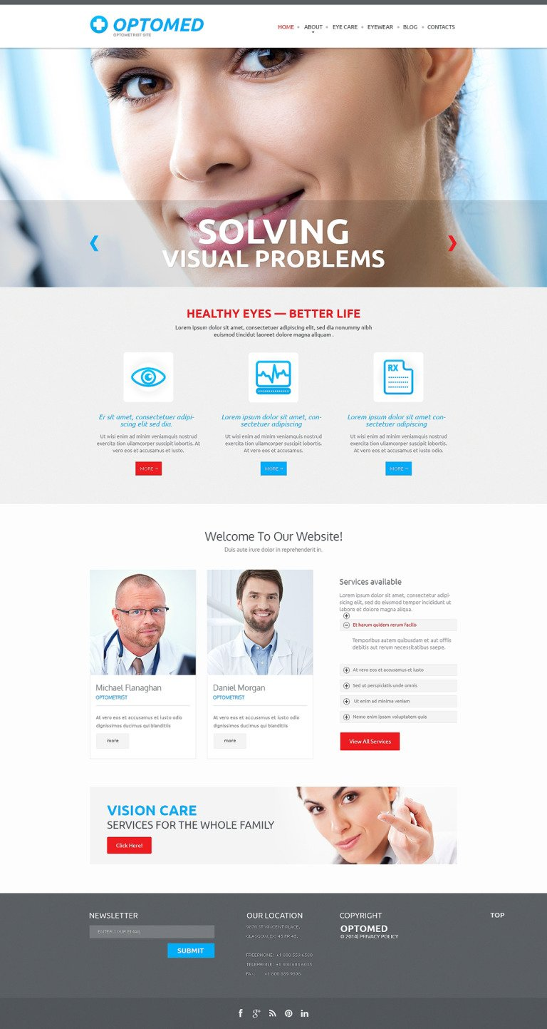 Optometrist's Responsive Website Template New Screenshots BIG