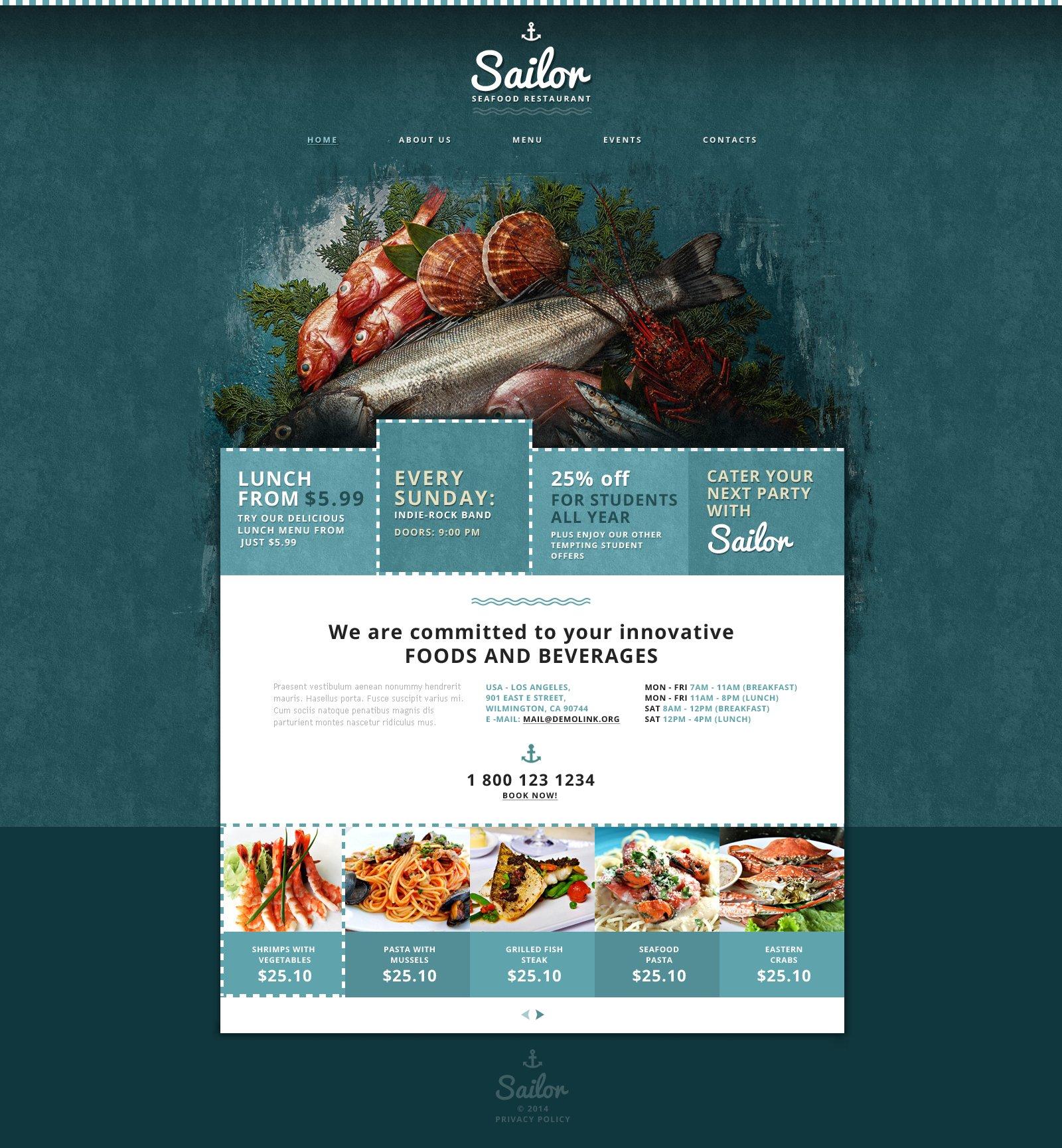 Plantilla Web #48023 para Sitio de Restaurantes de mariscos