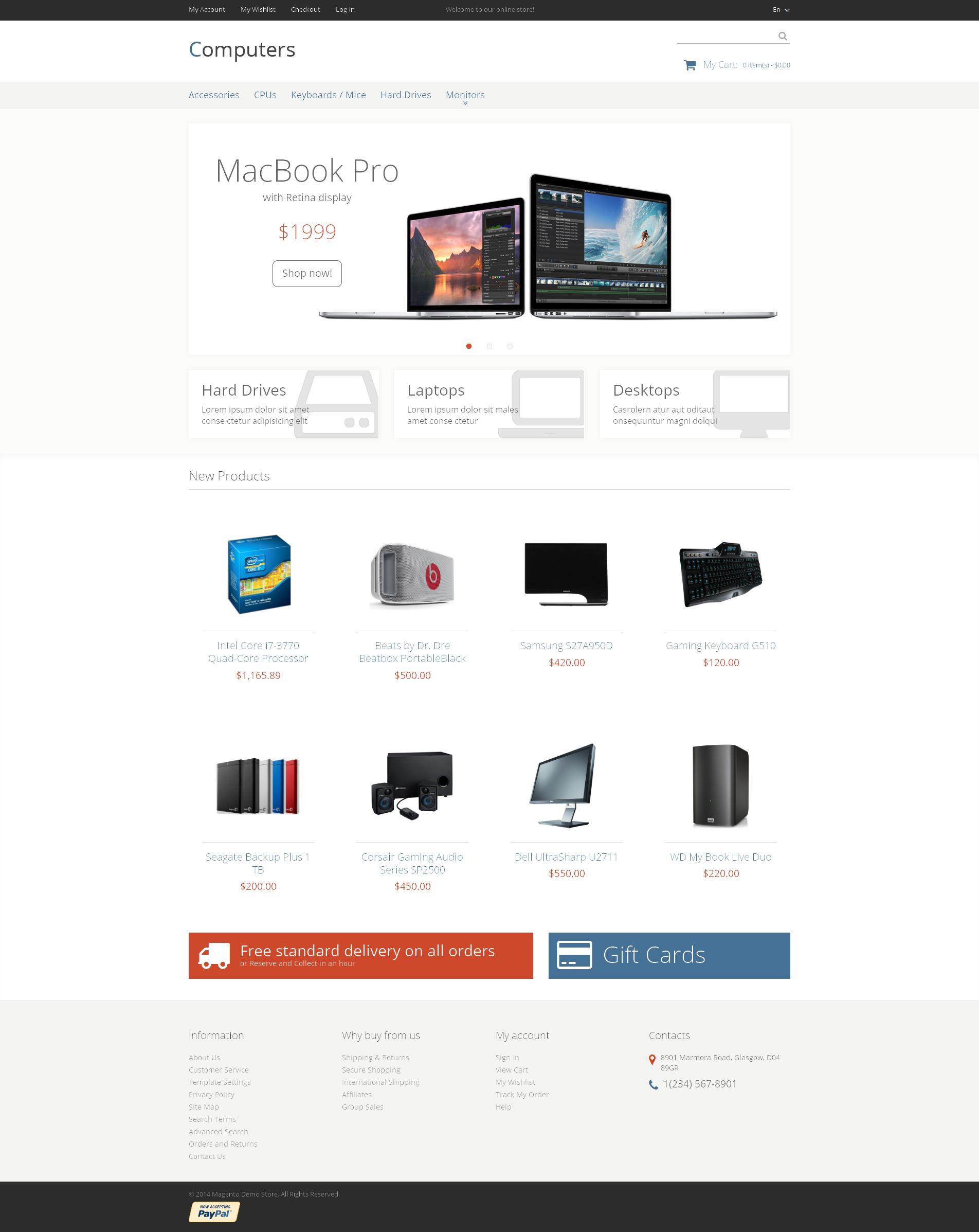 Responsive Bilgisayar Mağazası Magento #48001