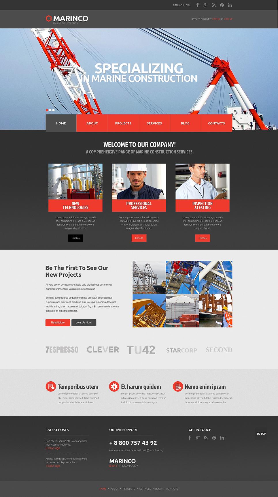 website vorlage 48095 f r industrie. Black Bedroom Furniture Sets. Home Design Ideas