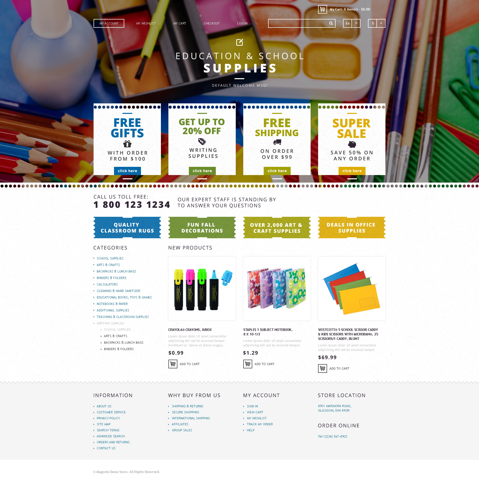 School Supplies Magento Theme #48003