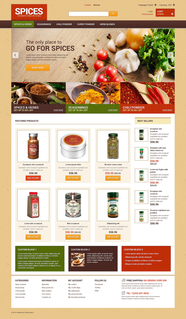 Spice shop PrestaShop Theme New Screenshots BIG