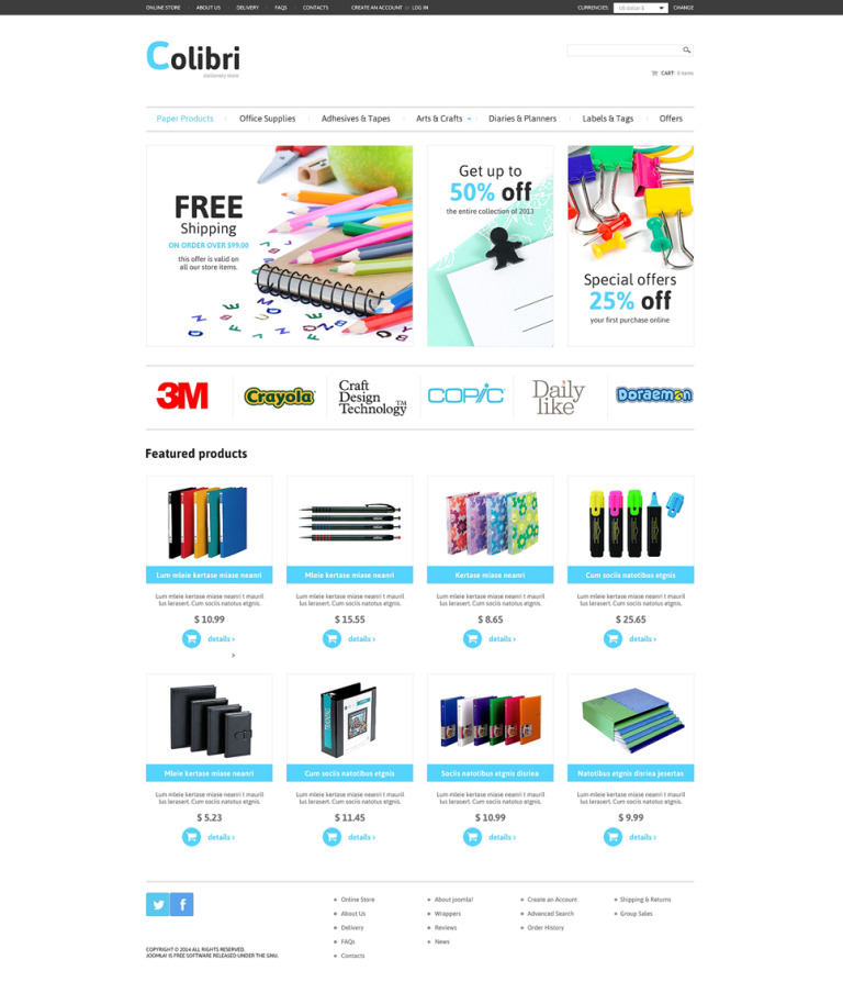 Stationery VirtueMart Template New Screenshots BIG
