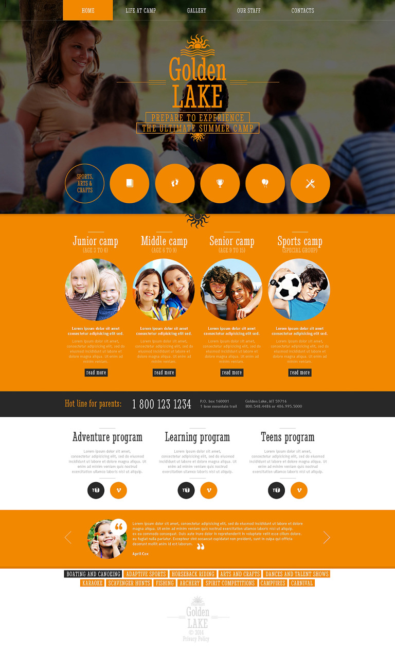 Summer Camp Responsive Website Template New Screenshots BIG