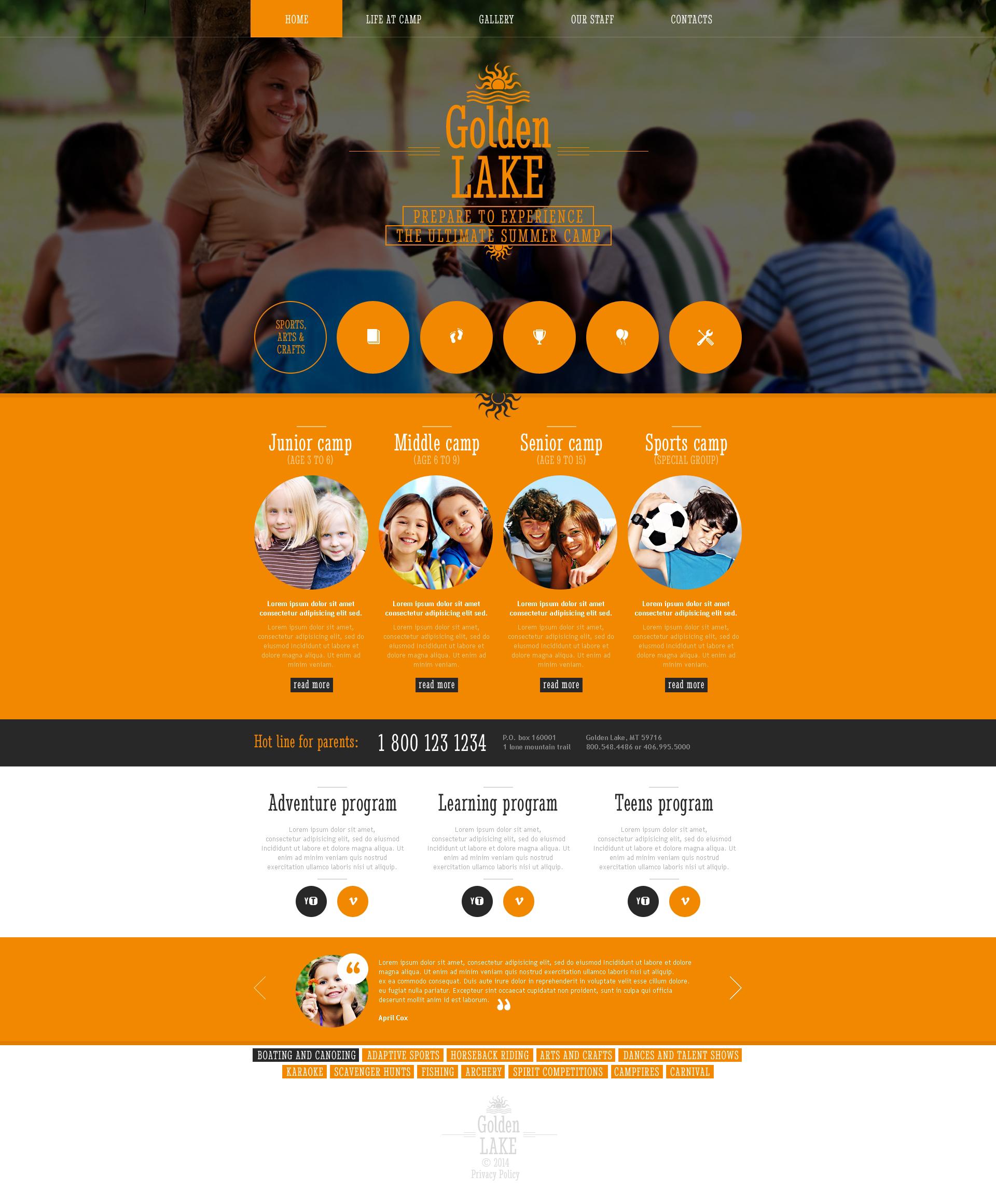 Summer Camp Responsive Website Template - screenshot