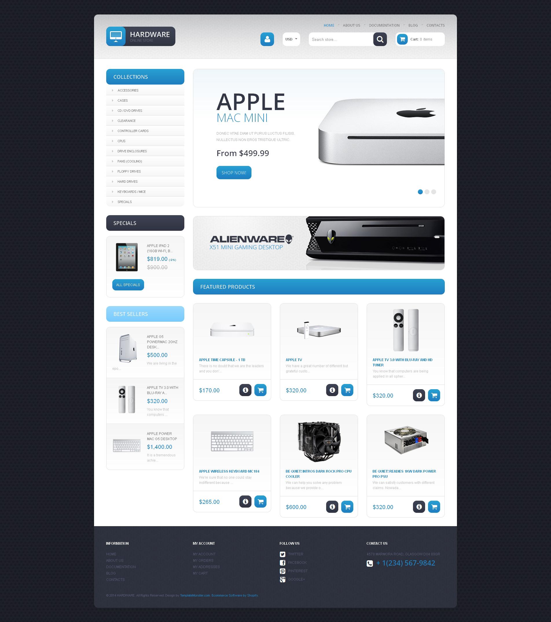Tema Shopify Responsive para Sitio de Tienda de Ordenadores #48026
