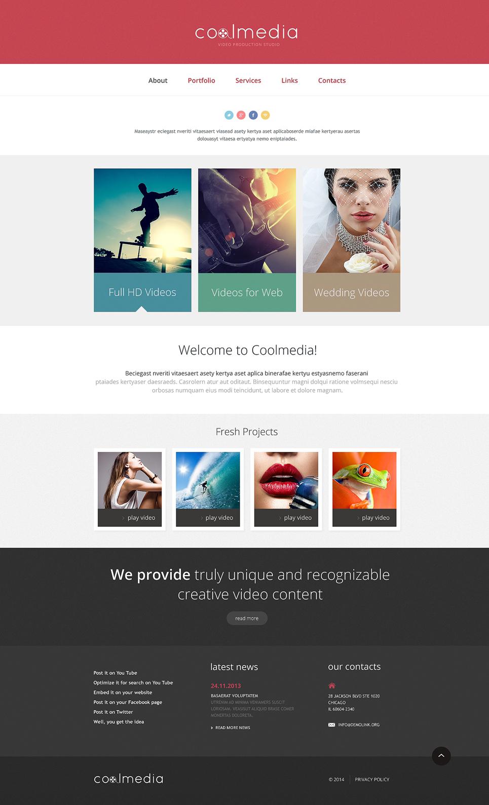 Videographer Responsive Website Template #48030