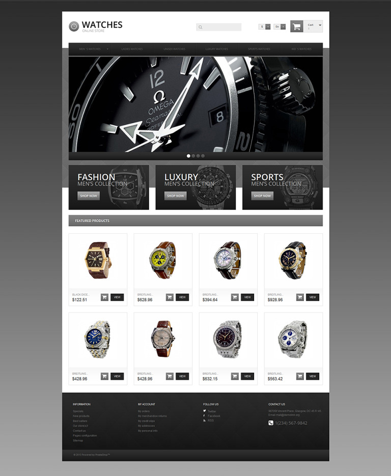 Watches Online Store PrestaShop Theme New Screenshots BIG