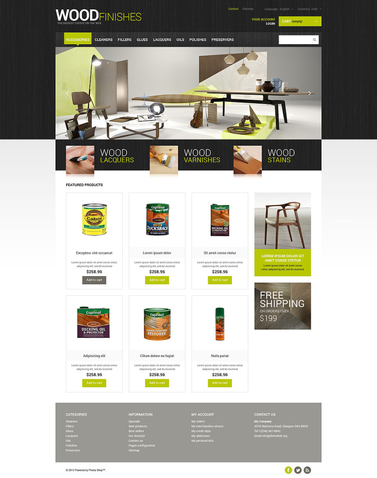 Wood Finishes Store PrestaShop Theme New Screenshots BIG