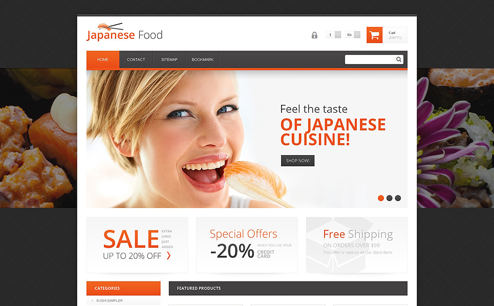 "PrestaShop Theme namens ""Japanische Küche"" New Screenshots BIG"