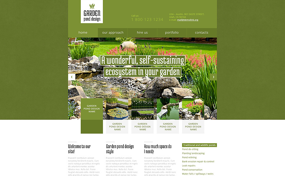Modèle Web adaptatif  pour site de design de jardin New Screenshots BIG