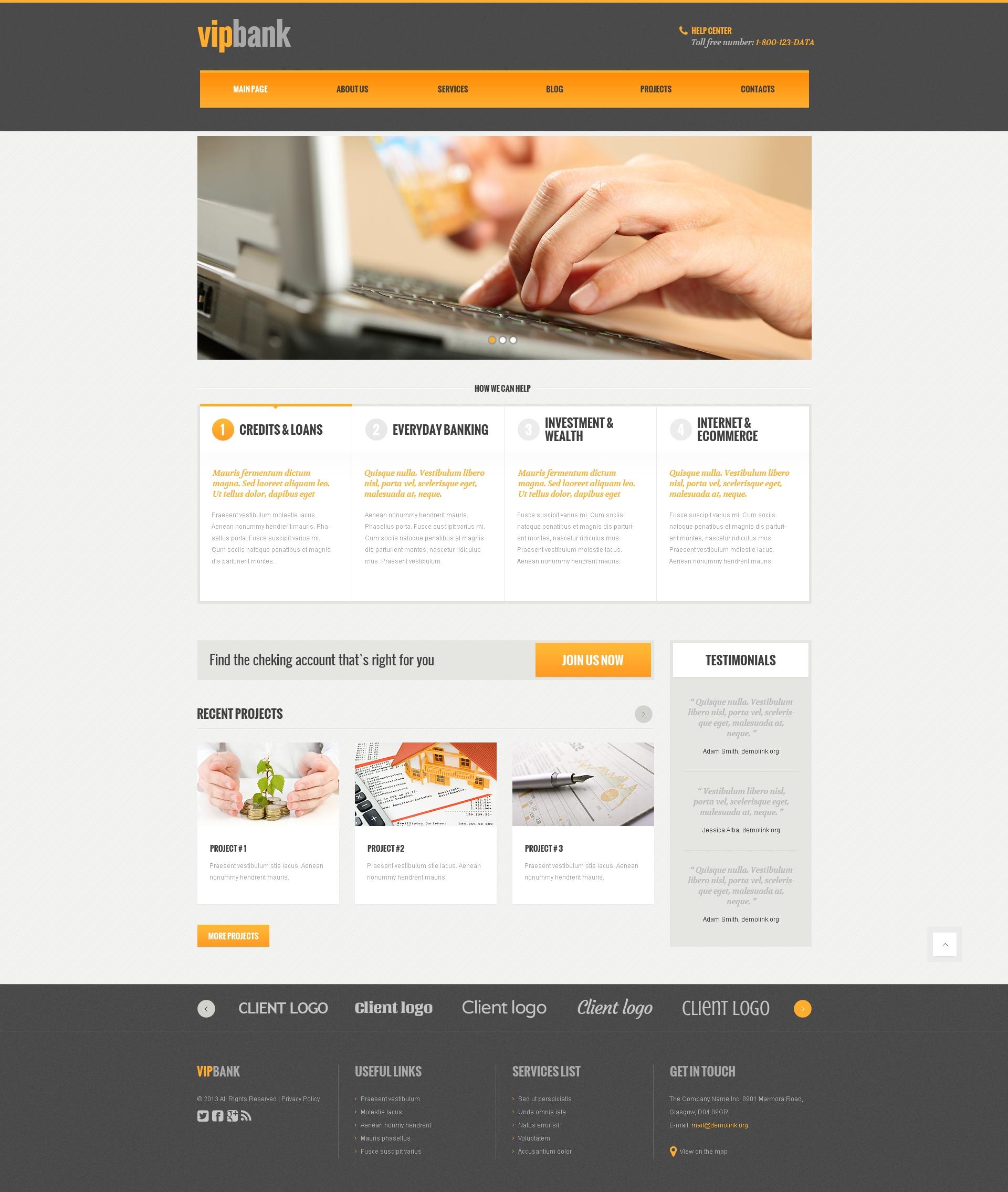 Адаптивный WordPress шаблон №48102 на тему банк - скриншот