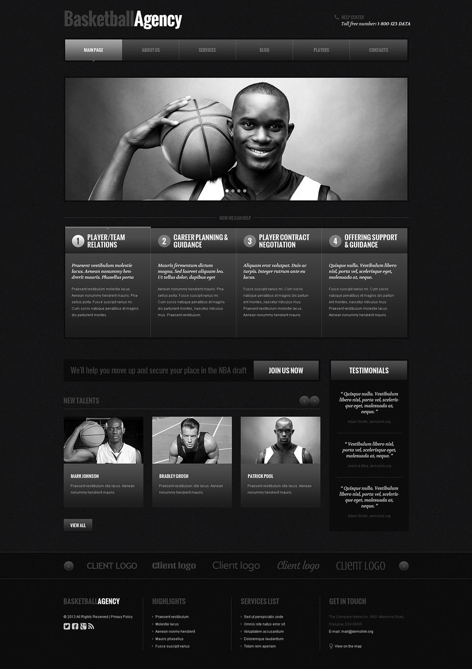 Адаптивный шаблон сайта на тему баскетбол #48105