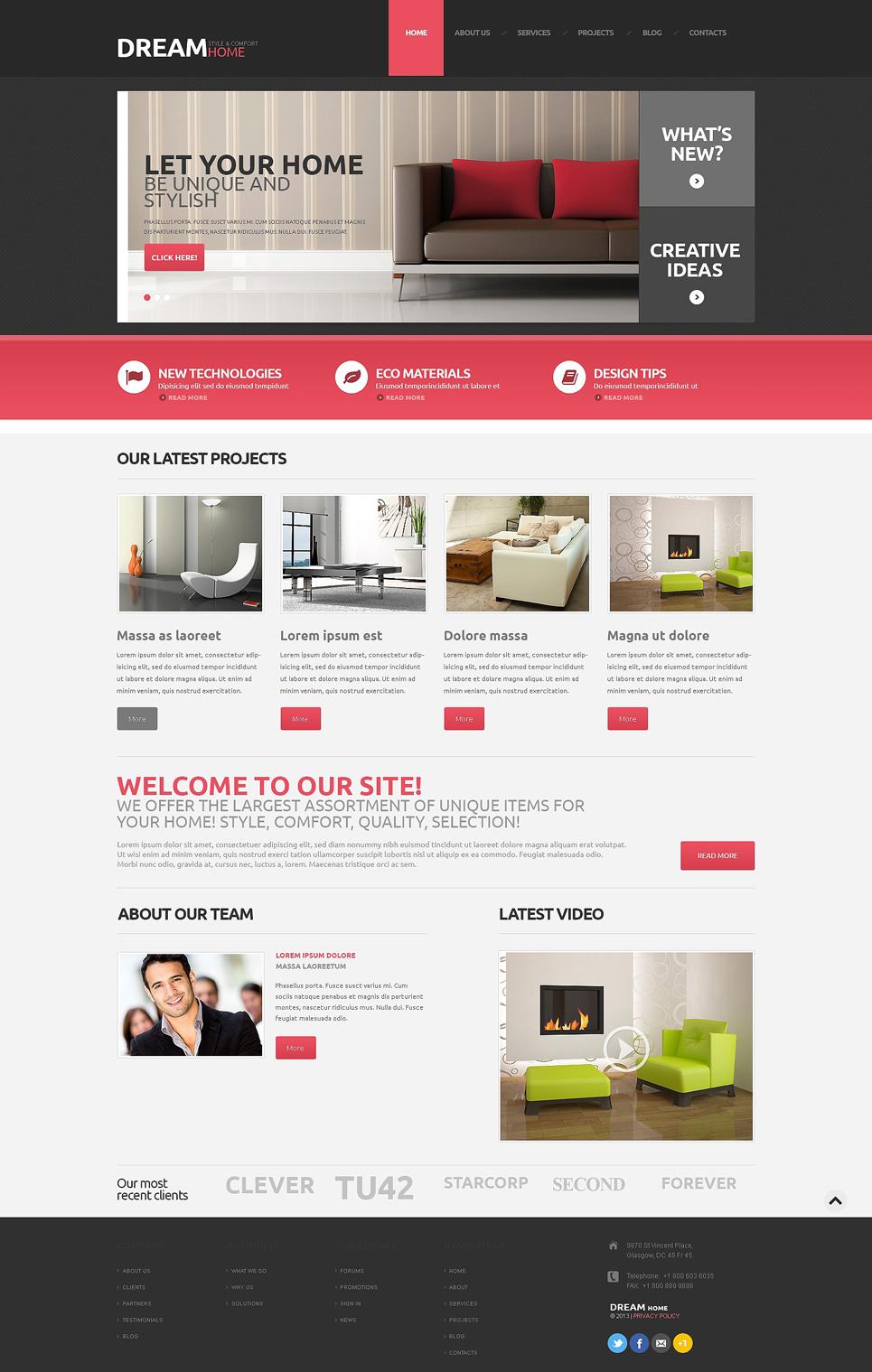 Адаптивный шаблон сайта на тему дизайн интерьеров #48160