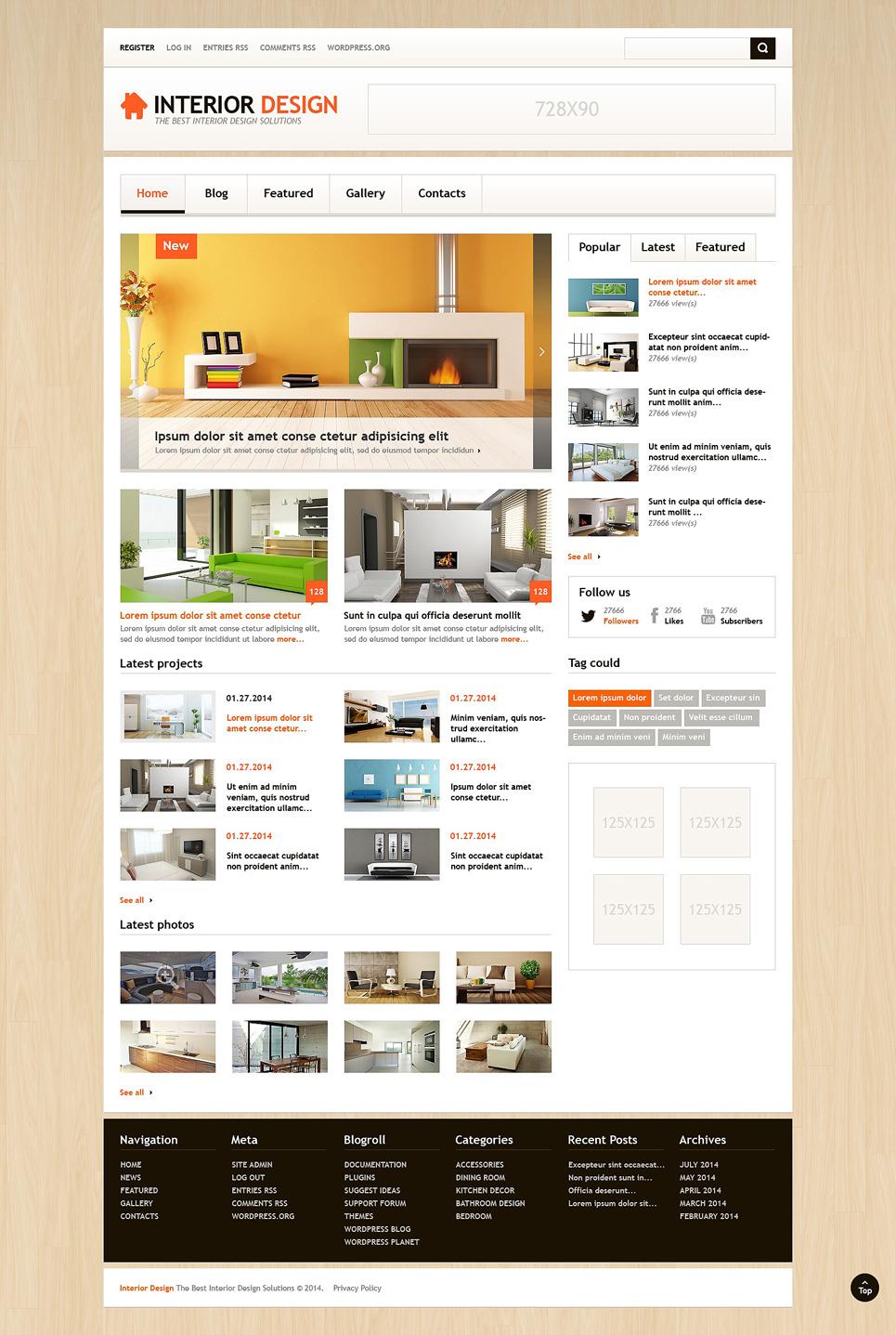 Адаптивный шаблон сайта на тему дизайн интерьеров #48161