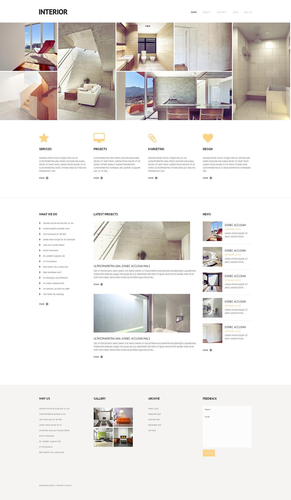 Адаптивный шаблон сайта на тему дизайн интерьеров #48164