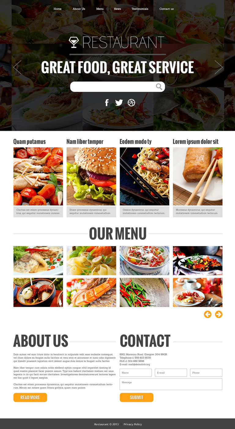 Attractive Restaurant Joomla Template New Screenshots BIG