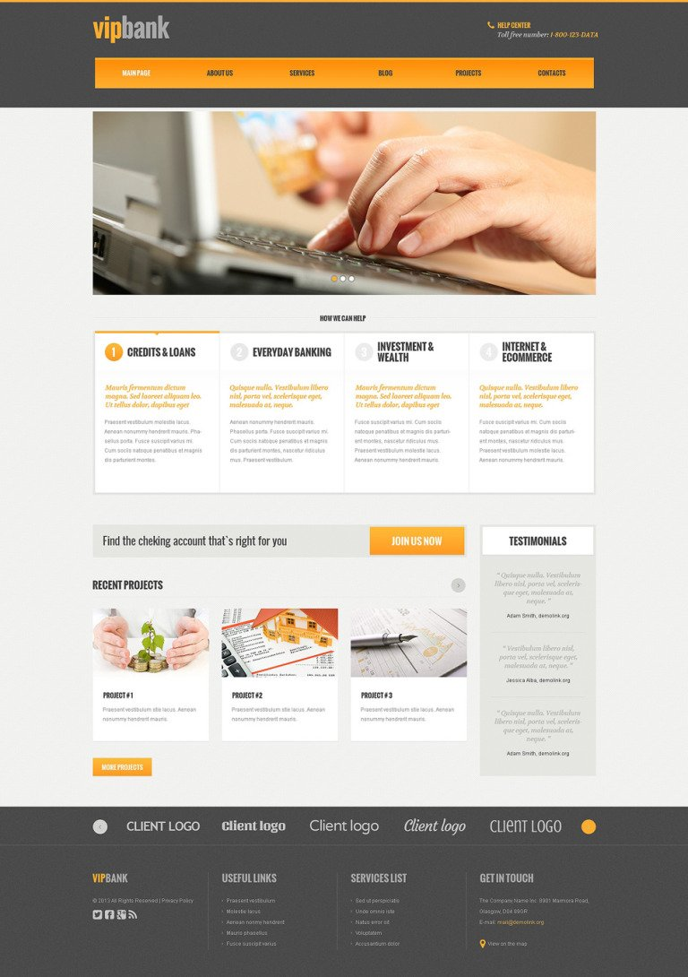 Bank Responsive WordPress Theme New Screenshots BIG