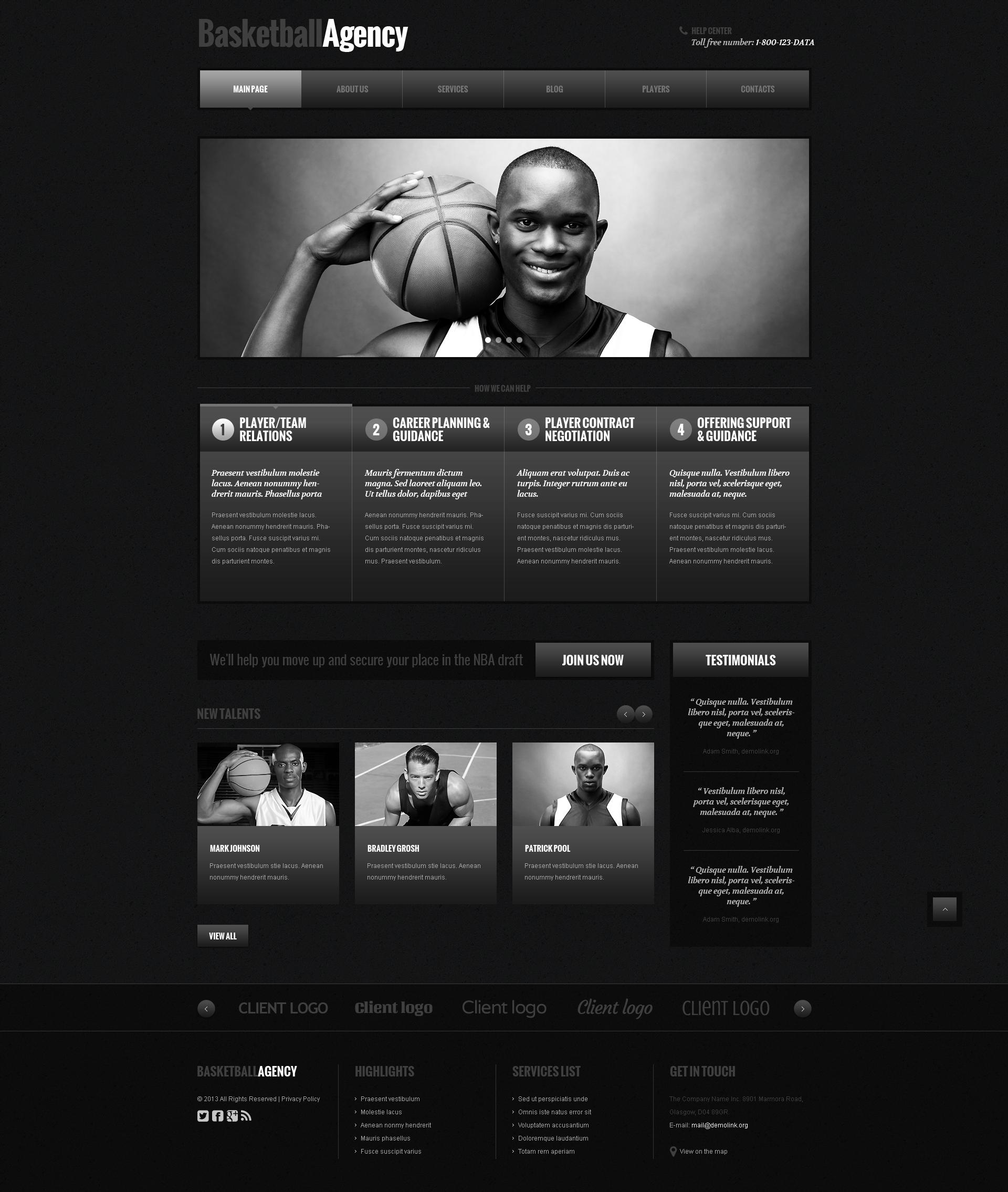 Basketball Responsive WordPress Theme