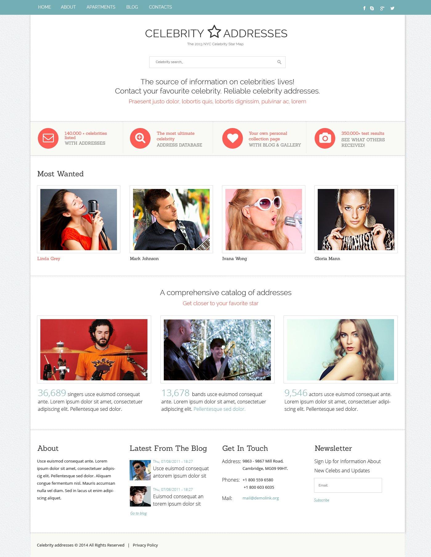 Celebrity Website Responsive Website Template #48145
