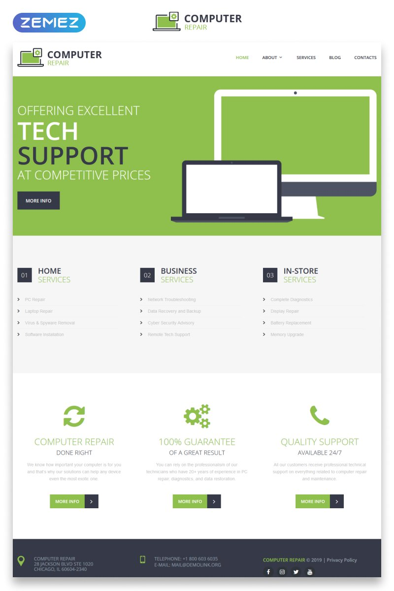 Computer Repair - Electronics & Gadgets Responsive HTML Website Template