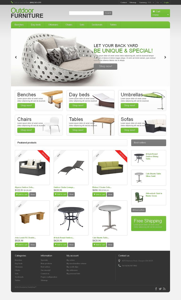 Garden Furniture Sheds PrestaShop Theme New Screenshots BIG