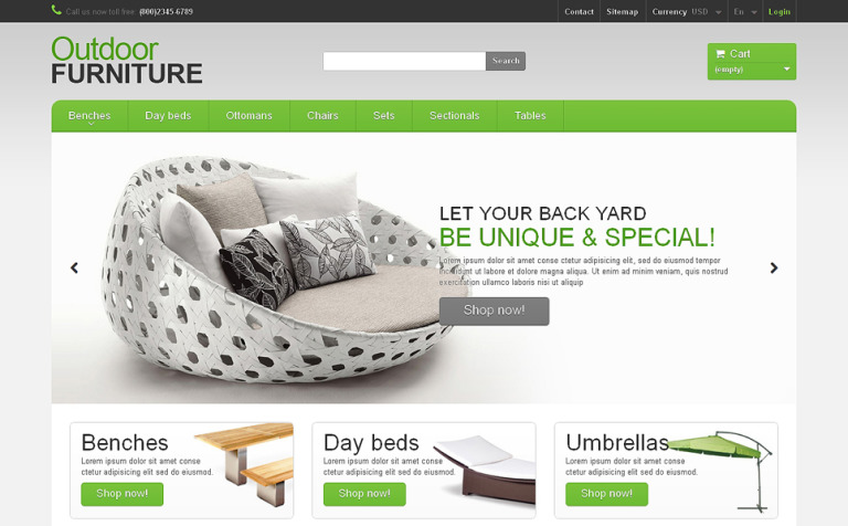 Garden Furniture Sheds PrestaShop Theme
