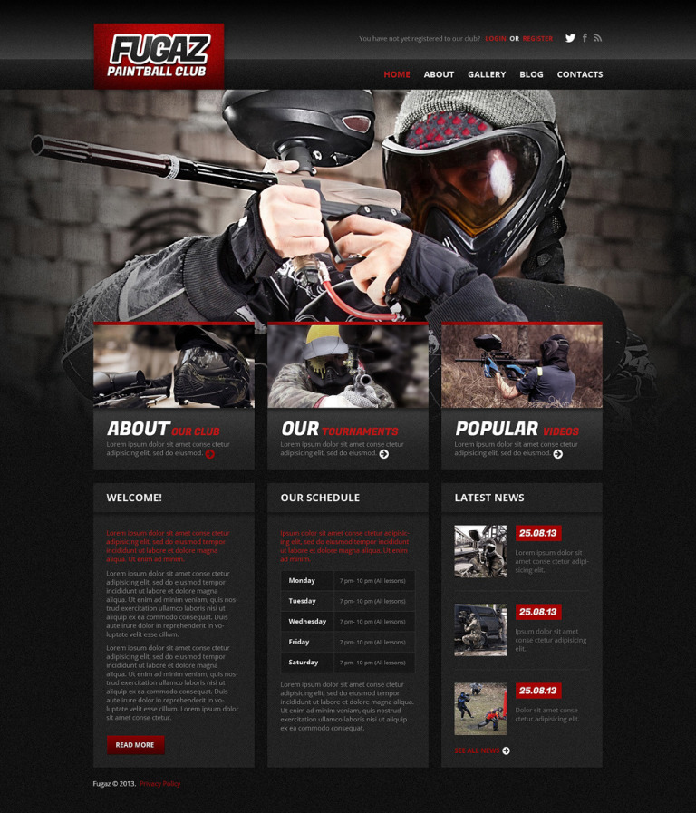 Paintball Responsive WordPress Theme New Screenshots BIG