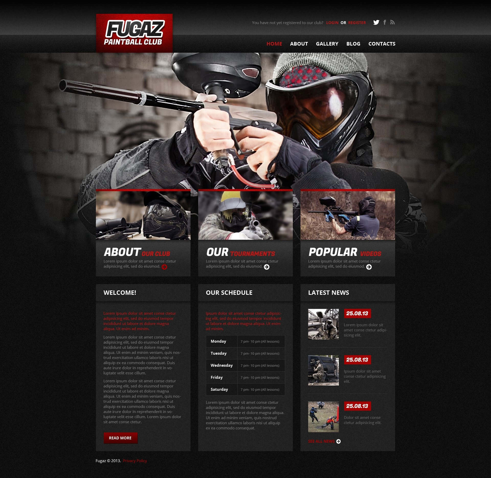 Paintball Responsive WordPress Theme - screenshot