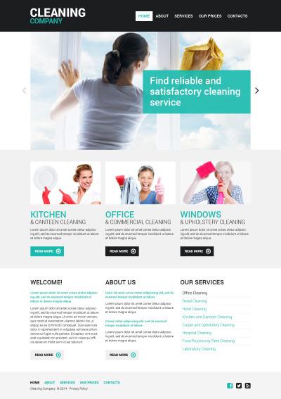 Responsive Plantilla Web #48107 para Sitio de  para Sitio de Servicios de limpieza