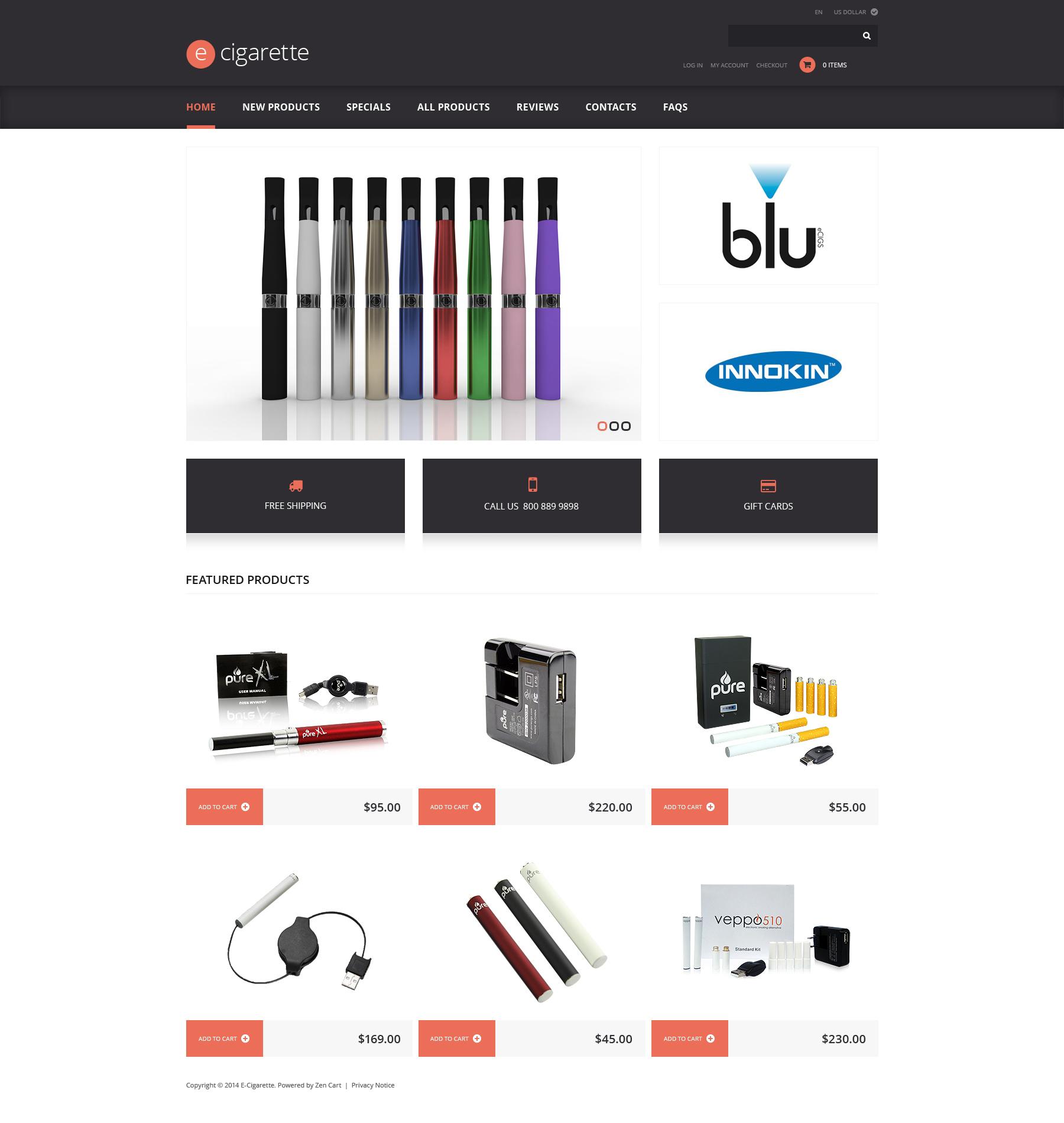 Plantilla ZenCart #48135 para Sitio de Tabaco - captura de pantalla