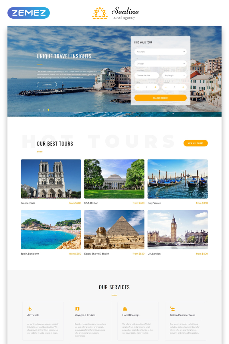 Responsive Sealine Travel Agency Multipage HTML Web Sitesi #48115