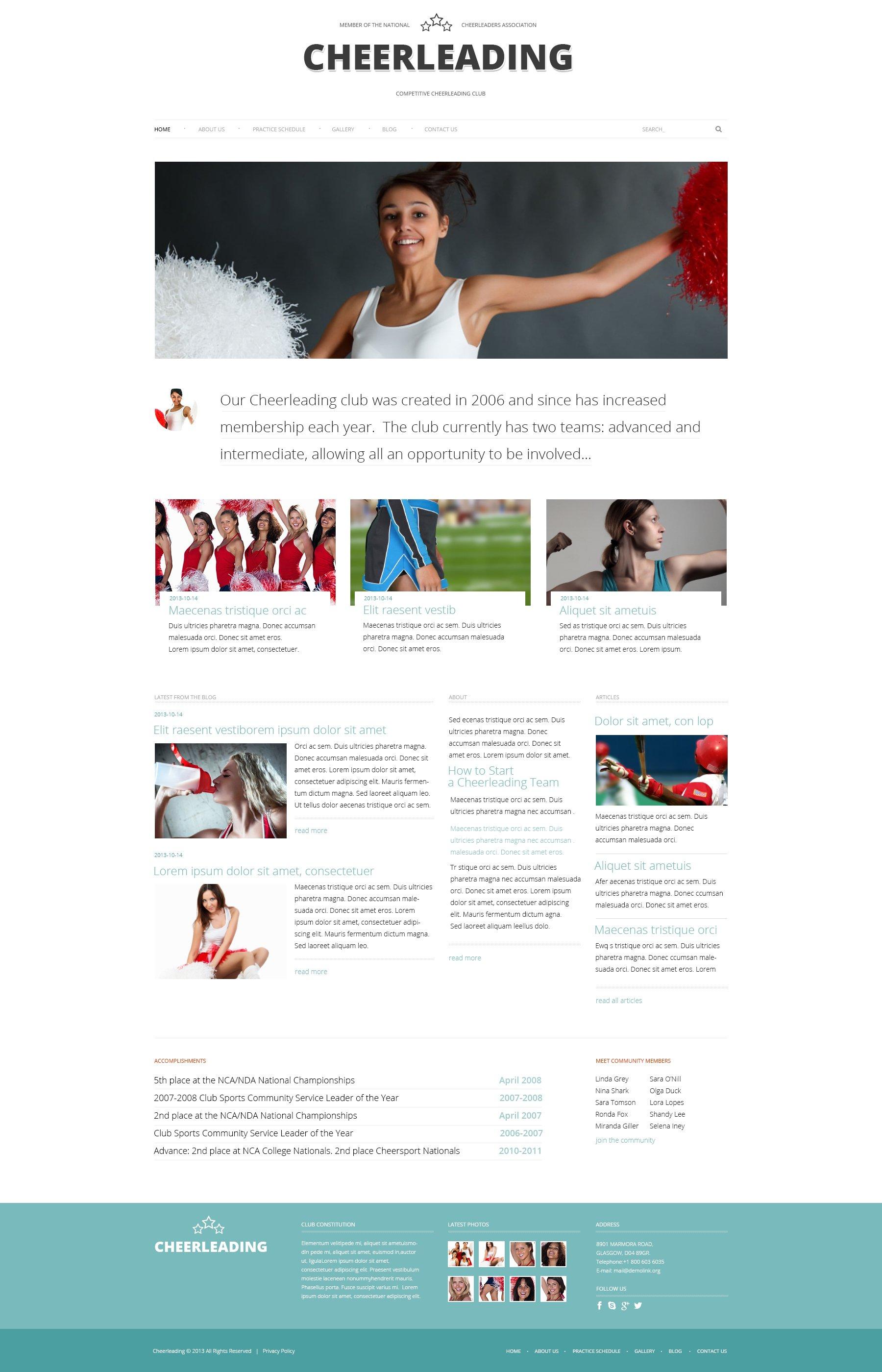 Responsivt Cheerleading Club WordPress-tema #48163 - skärmbild