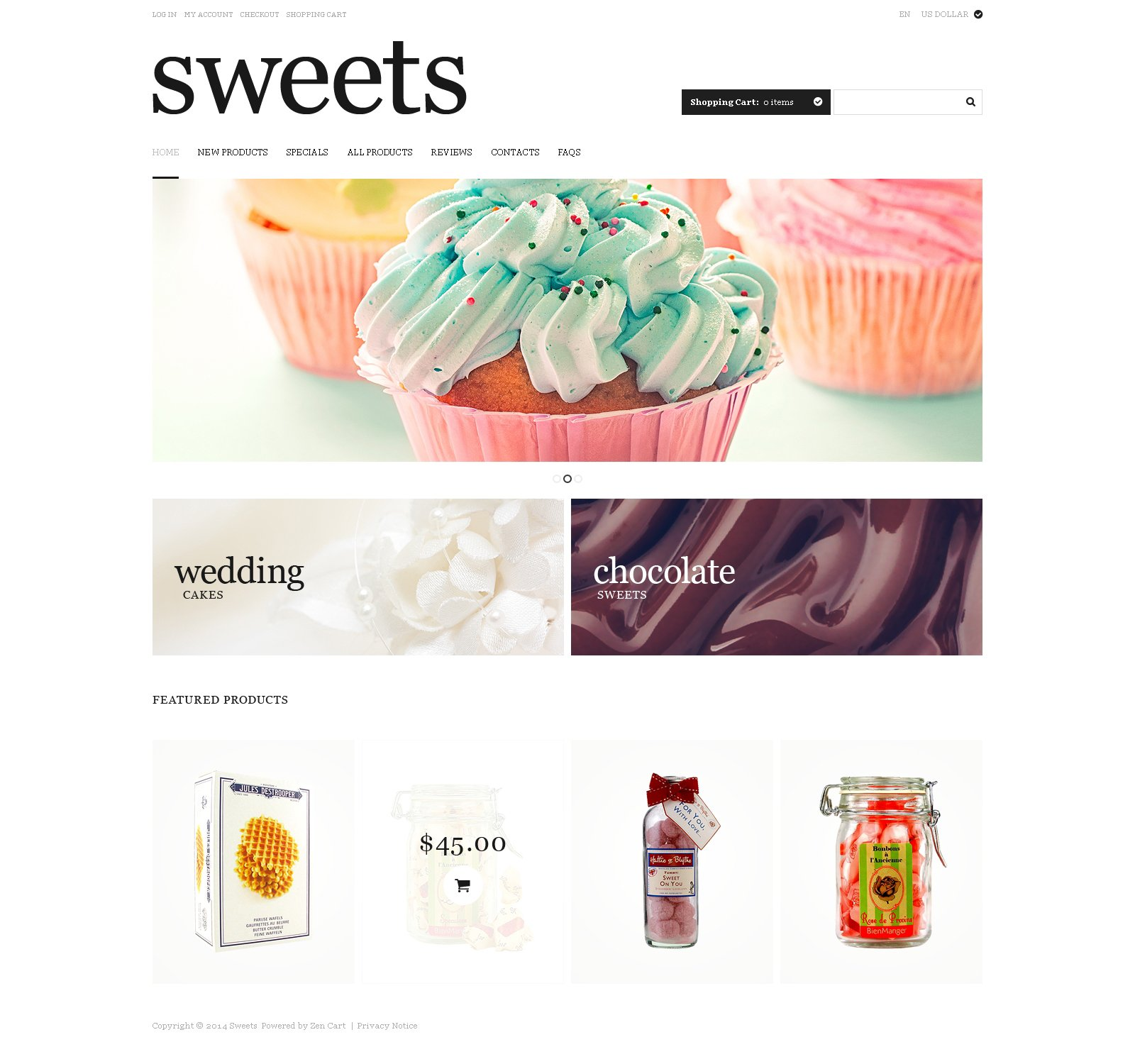 Sweet Life ZenCart Template - screenshot