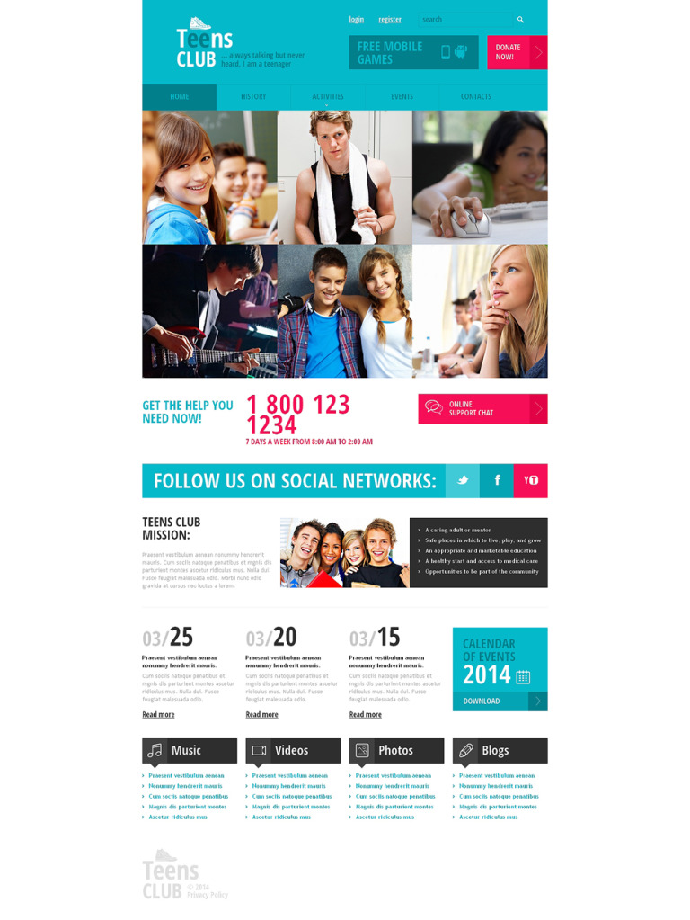 Teen Club Responsive Website Template New Screenshots BIG