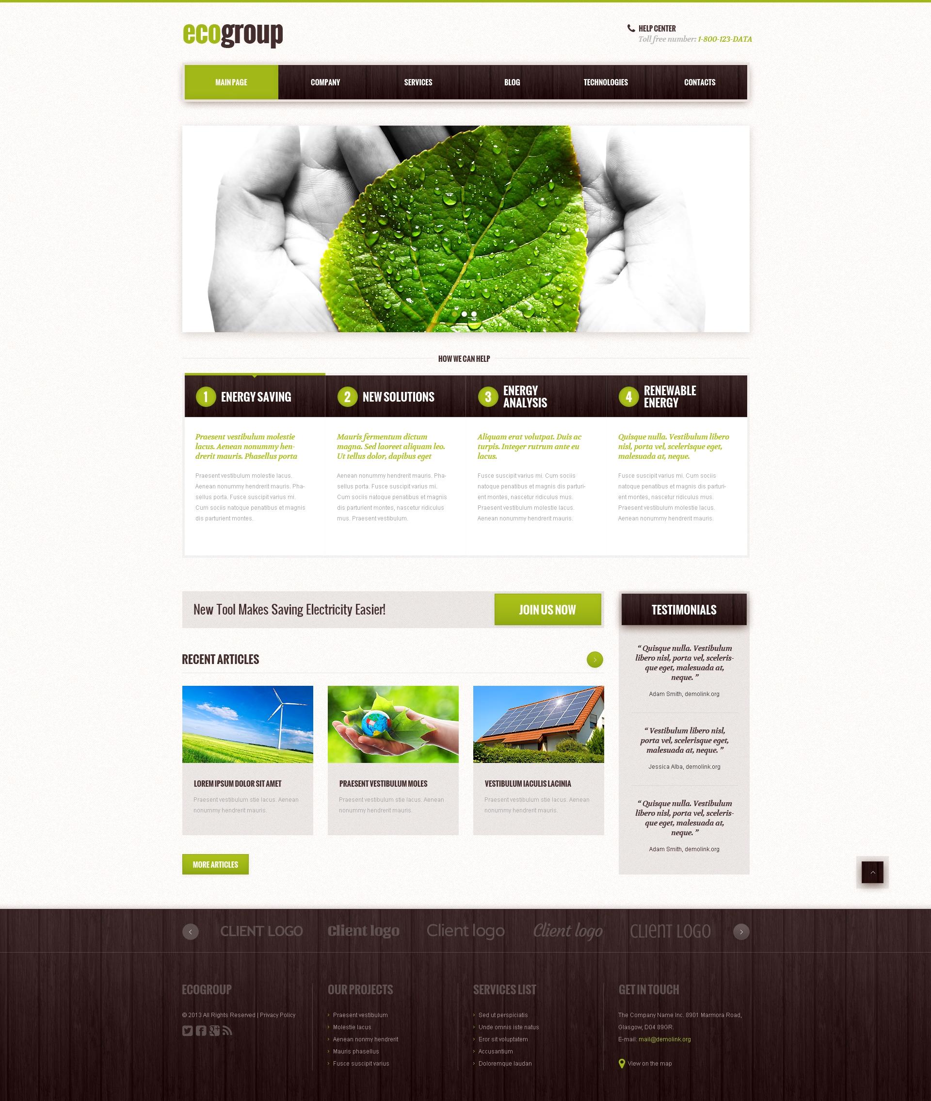 Tema De WordPress Responsive para Sitio de Energía alternativa #48103