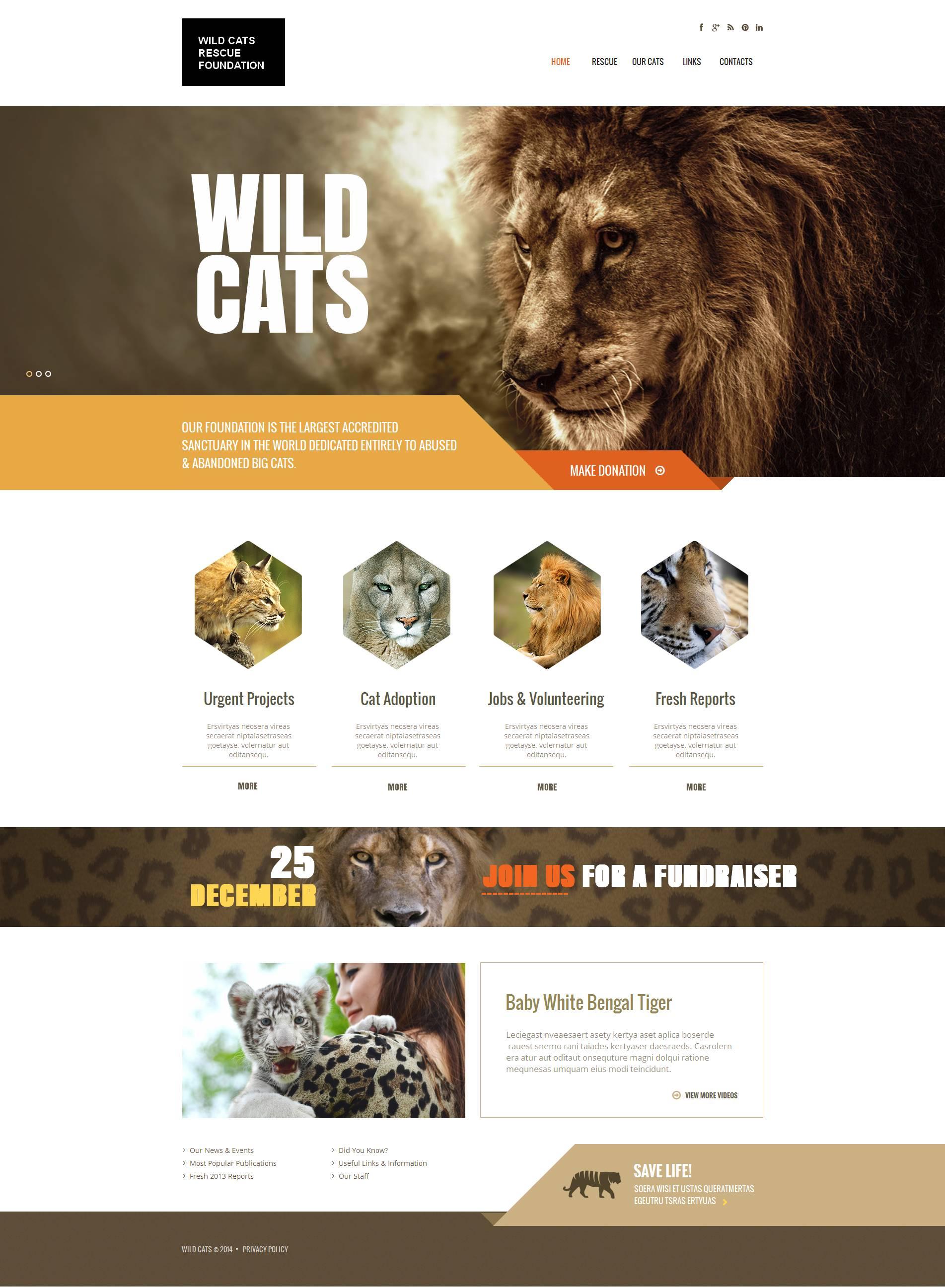 Tema Moto CMS HTML #48198 per Un Sito di Animali Selvaggi
