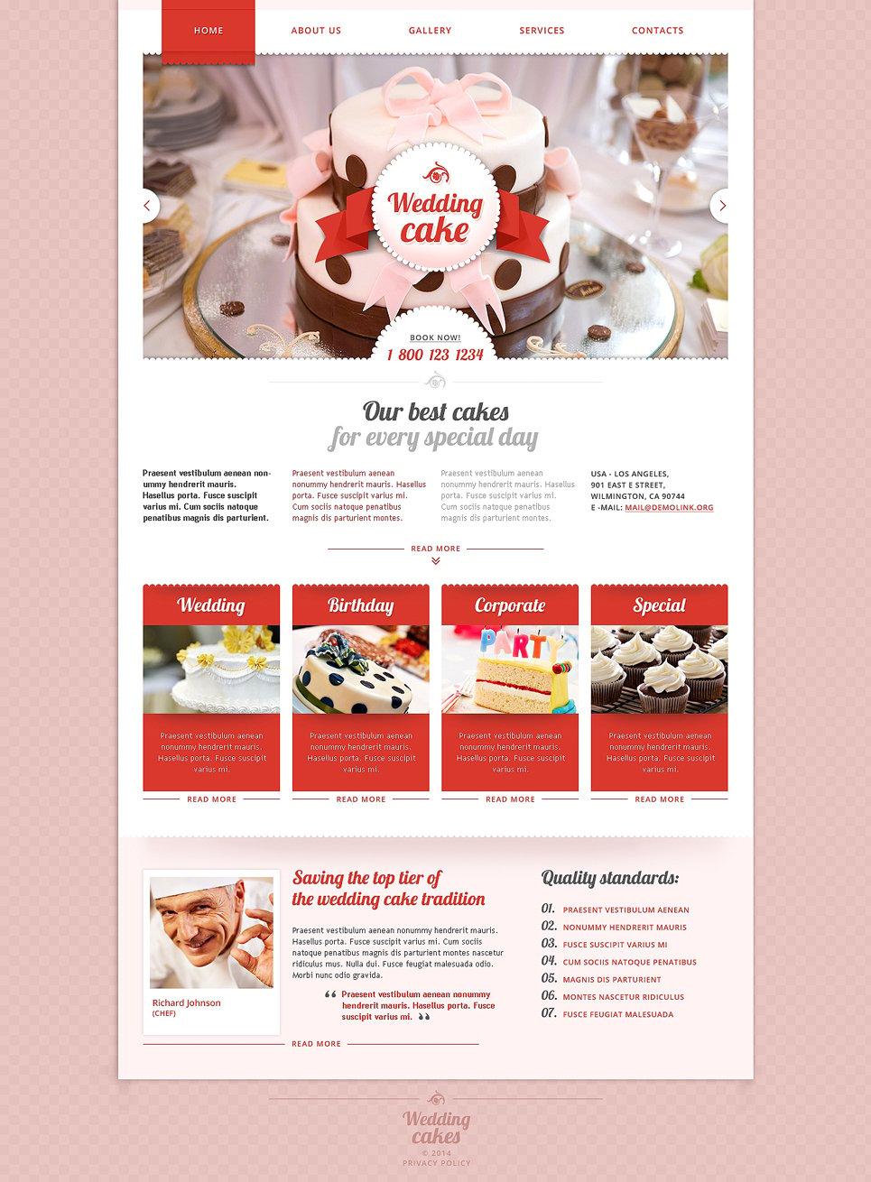 Cake Designs Montgomery Website : Wedding Cake Responsive Website Template #48177